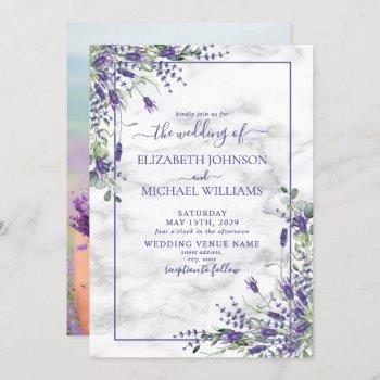 rustic lavender eucalyptus greenery photo wedding invitation