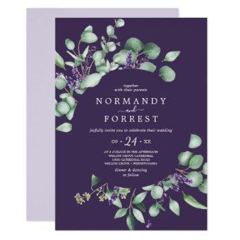 rustic lavender & eucalyptus purple casual wedding invitation