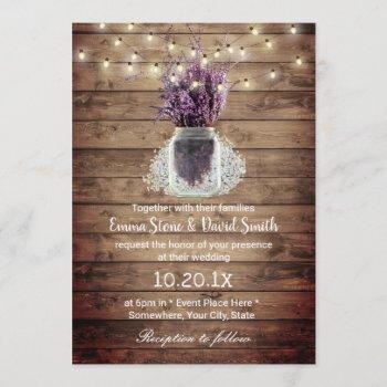 rustic lavender floral jar string lights wedding invitation