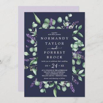 rustic lavender | navy blue floral frame wedding invitation