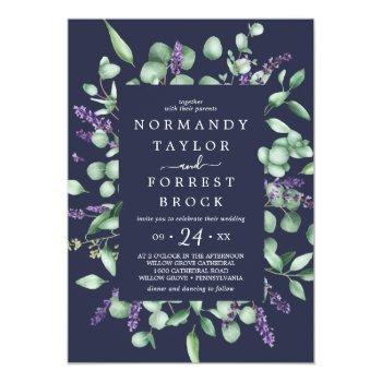 Small Rustic Lavender   Navy Blue Floral Frame Wedding Invitation Front View