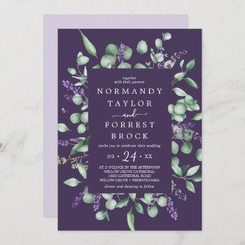 rustic lavender | purple floral frame wedding invitation