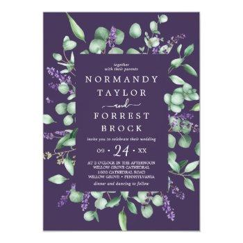 Small Rustic Lavender | Purple Floral Frame Wedding Invitation Front View