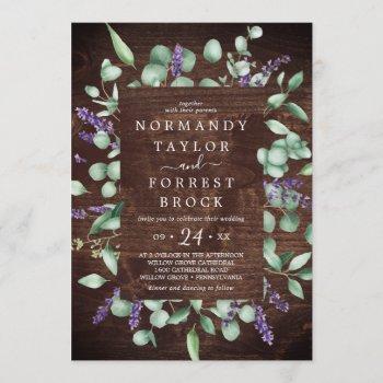 rustic lavender | wooden floral frame wedding invitation