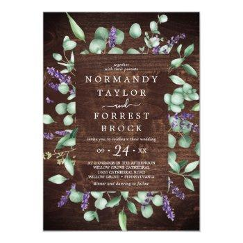 Small Rustic Lavender   Wooden Floral Frame Wedding Invitation Front View