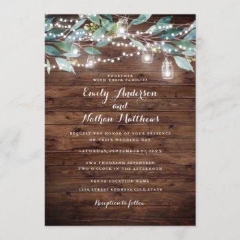 rustic leaf string lights wood wedding invitation