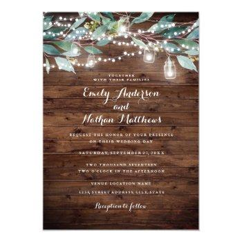 rustic leaf string lights wood wedding invitation