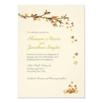 rustic leaves wedding invitation