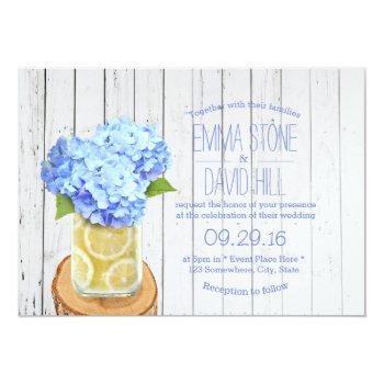 rustic lemons jar & blue hydrangea wedding invitation