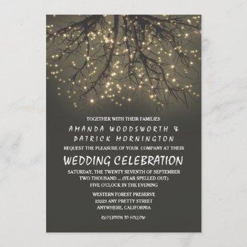 rustic lighted tree branch wedding invitations