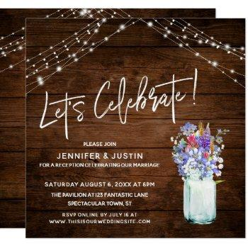 rustic lights let's celebrate wildflowers in jar invitation