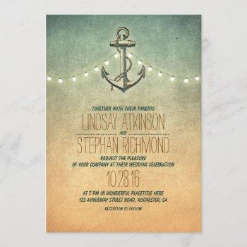 rustic lights nautical anchor wedding invitation