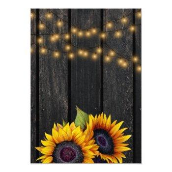 Small Rustic Lights Sunflower Barn Wood Wedding Invitation Back View