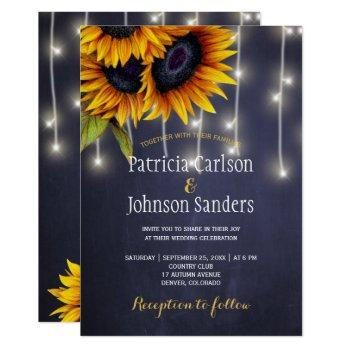 rustic lights sunflower navy chalkboard wedding invitation