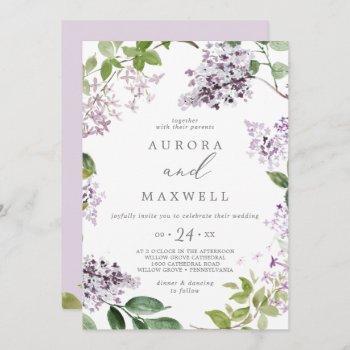rustic lilac all in one wedding invitation