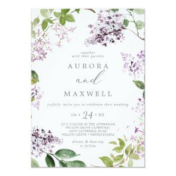 Small Rustic Lilac All In One Wedding Invitation Front View