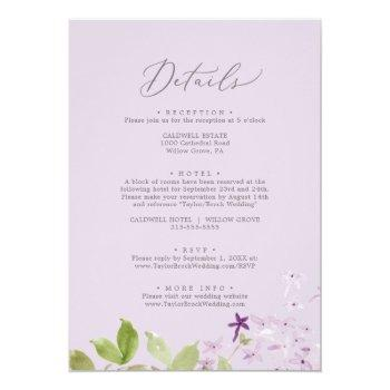 Small Rustic Lilac All In One Wedding Invitation Back View