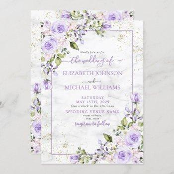 rustic lilac lavender gold marble floral wedding invitation