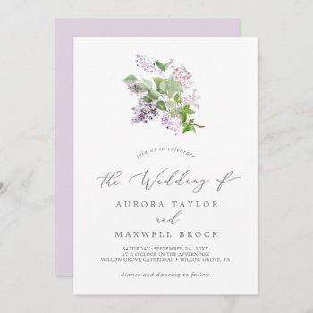 rustic lilac simple wedding invitation