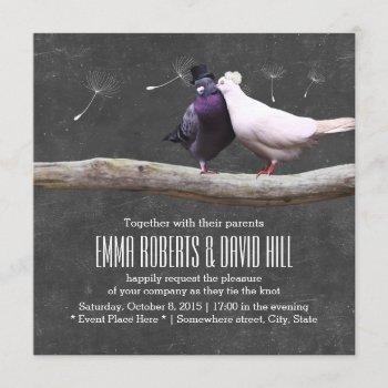 rustic love birds & dandelion chalkboard wedding invitation