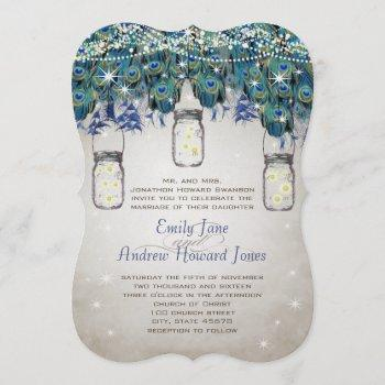 rustic luxe mason jar navy turquoise peacock invitation