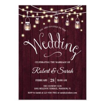 rustic maroon wood & lights wedding invitation