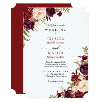 rustic marsala burgundy wedding invitation