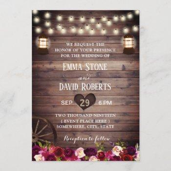 rustic marsala floral vintage lantern fall wedding invitation