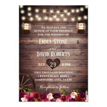 rustic marsala floral vintage lantern fall wedding invitation