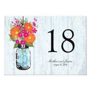 rustic mason jar gerber daisies table number