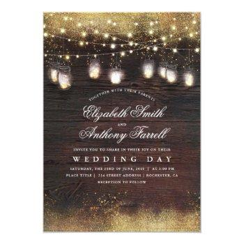 rustic mason jar lights and gold glitter wedding invitation