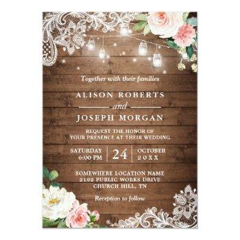Small Rustic Mason Jar Lights Floral Lace Wedding Invitation Front View