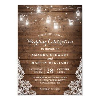 rustic mason jar string light lace country wedding invitation