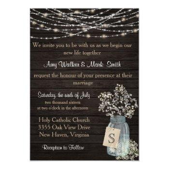 rustic mason jar string lights wedding invitation