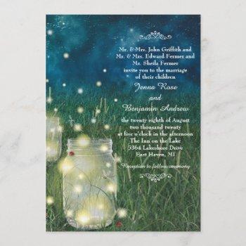 rustic meadow night mason jar firefly wedding invitation