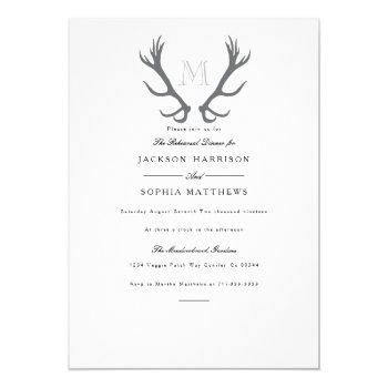 rustic minimal antler & initial wedding invite