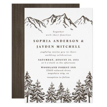 rustic mountain elegant watercolor pine wedding invitation