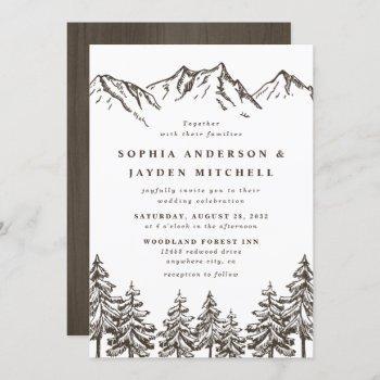 rustic mountain elegant watercolor pine wedding invitation