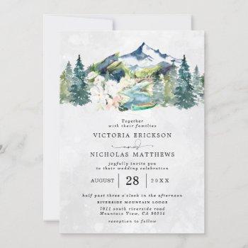 rustic mountain forest evergreen tree wedding invitation