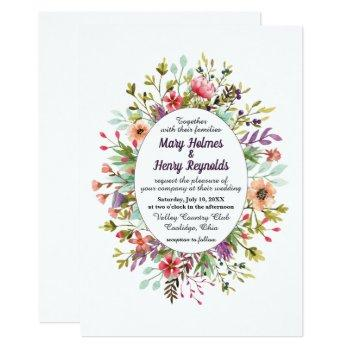 rustic mountain meadow wildflowers wedding invitation