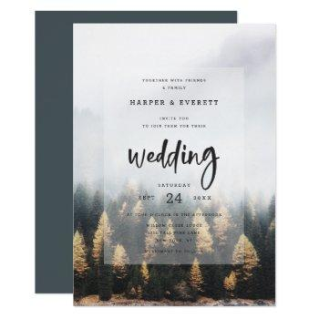 rustic mountain pine trees fall forest wedding invitation