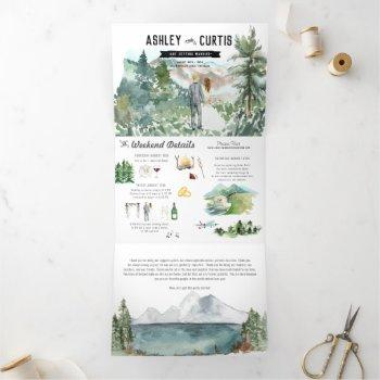 rustic mountain wedding   tri-fold invitation