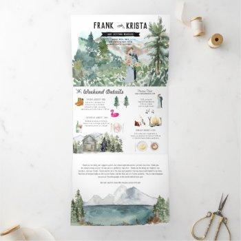rustic mountain wedding | tri-fold invitation