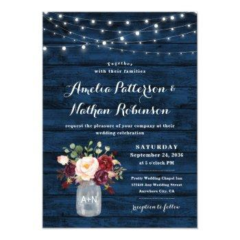Small Rustic Navy Blue And Burgundy Blush Floral Wedding Invitation Front View