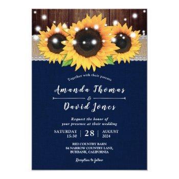 rustic navy blue barn wedding invitations