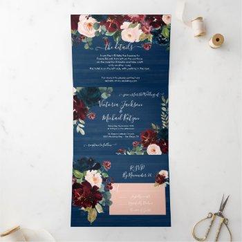rustic navy blue blush & burgundy floral wedding tri-fold invitation