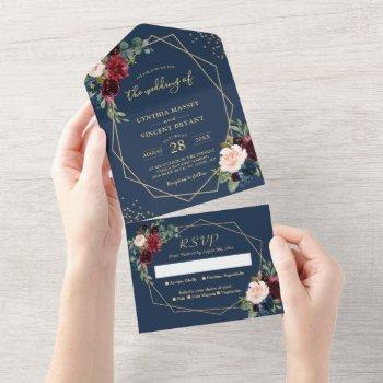 rustic navy blue geometric wedding (no env needed) all in one invitation