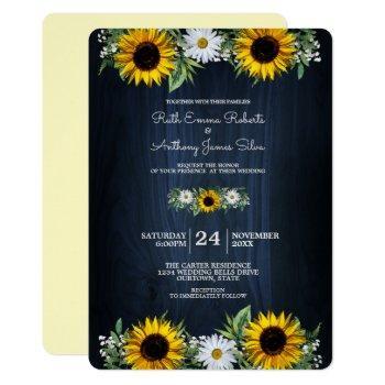 rustic navy blue sunflower daisy wedding invitation