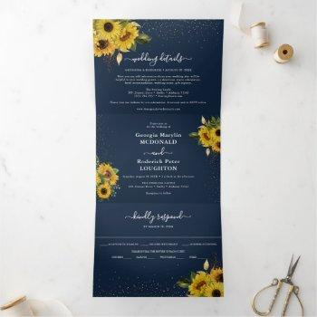 rustic navy blue sunflower floral wedding tri-fold invitation