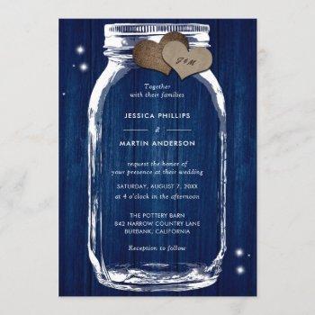 rustic navy blue wood mason jar wedding invitation